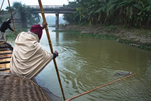 Fishermen push the net from the boat towards the edge of the river, while the otters muster the fish towards the net. Bangladesh is one of the last places on earth where this ancient tradition is still practiced. For centuries, fishermen from this area have trained wild otters to muster fish towards their nets improving their catch significantly.