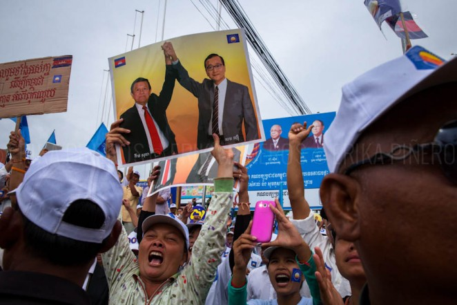Opposition party CNRP's supporters during a speech in Siem Reap. Jul. 24, 2013 ©Erika Pineros