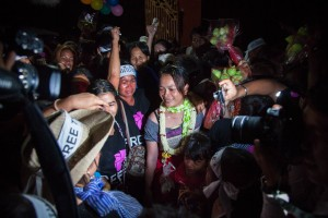 Tol Srey Pov, mother of three, greets family and friends after being released from prison on June 27, 2012.  A month and three days before, she was convicted along another 12 women, for occupying state land and obstructing public officials during a peaceful demonstration on the sand dunes of Boeung kak.