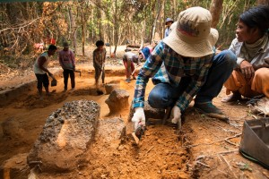 ADF's archeologist, Many Norng, works at an excavation site at Phnom Kulen. Siem Reap Province, Cambodia.