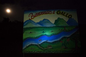 A sign in front of the local school reads 'Welcome to Gallo'. This community, whose inhabitants rely on coca production for their survival, was chosen as one of the 'normalisation zones' where FARC militants would demobilise and disarm as part of the peace deal signed with the Colombia government in late 2016.